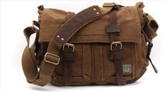 Canvas Messenger Vintage Leather Camera Bag Portable Shoulder Bag Diagonal Tote DSLR Bag - icambag
