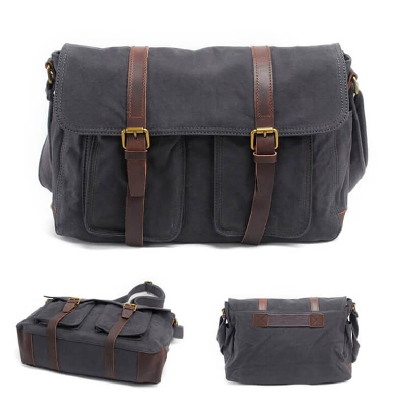 Canvas Vintage Top Full Leather Bag,Men'Messenger Bag, Leisure Outdoor Bag2056 - icambag