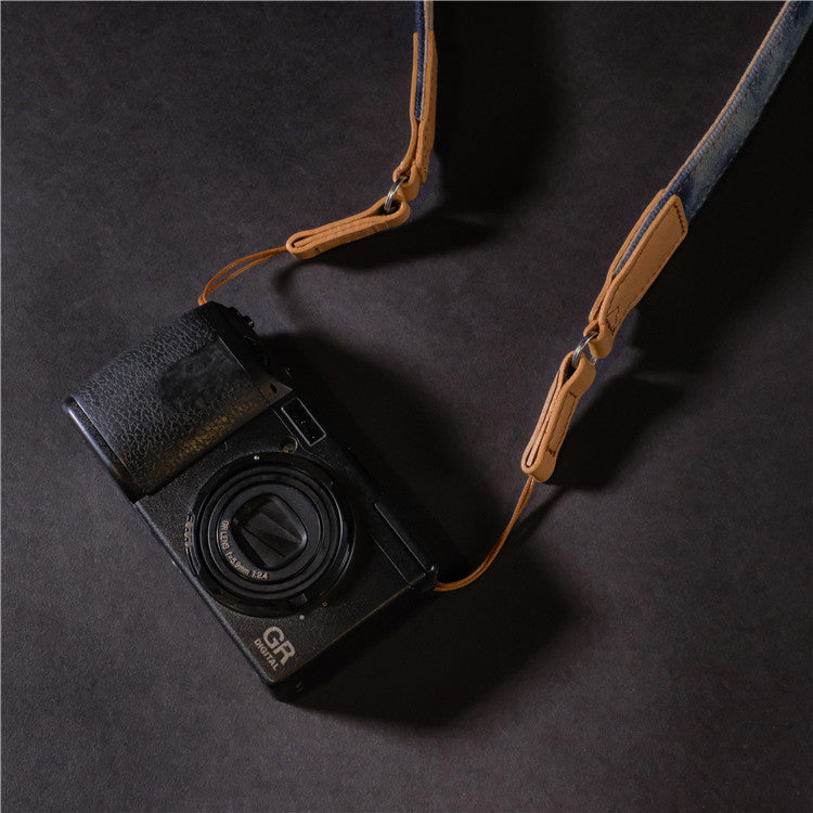 Genuine Leather Cotton Denim DSLR Camera Strap CCS00310 - icambag