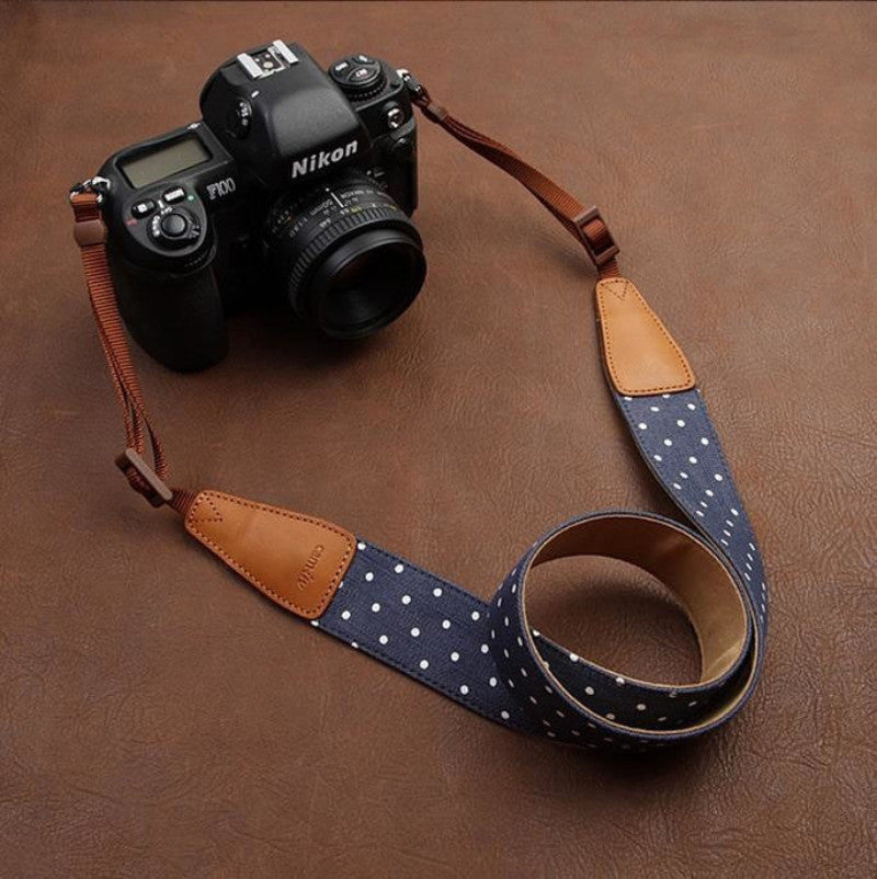 Cowboy Flower Handmade Leather Camera Strap Brown 7115 - icambag