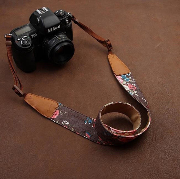 Cowboy Flower  Handmade Leather Camera Strap Brown 7135 - icambag