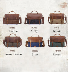 Crazy Horse Leather Bag Canvas Leather Travel Bag Single Shoulder Bag Messenger Laptop Bag 1807 - icambag