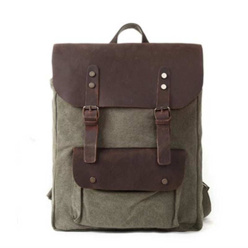 74cb593385215d Crazy Horse Leather Gray Leisure Canvas Backpacks School Backpacks ...