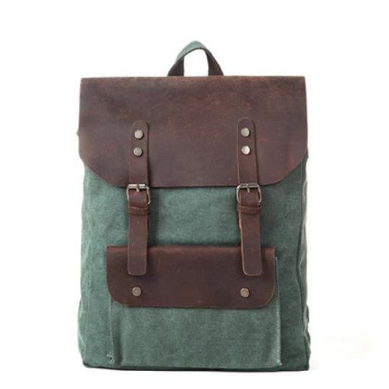 3257a3559e Crazy Horse Leather Green Leisure Canvas Backpacks School Backpacks ...