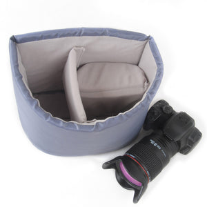 Semicircle Gray DSLR Camera Bag Insert One Body Two Lens B38 - icambag