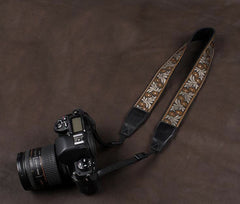 Embroidered Style Cotton Strap  Handmade Leather Camera Strap 8456 - icambag