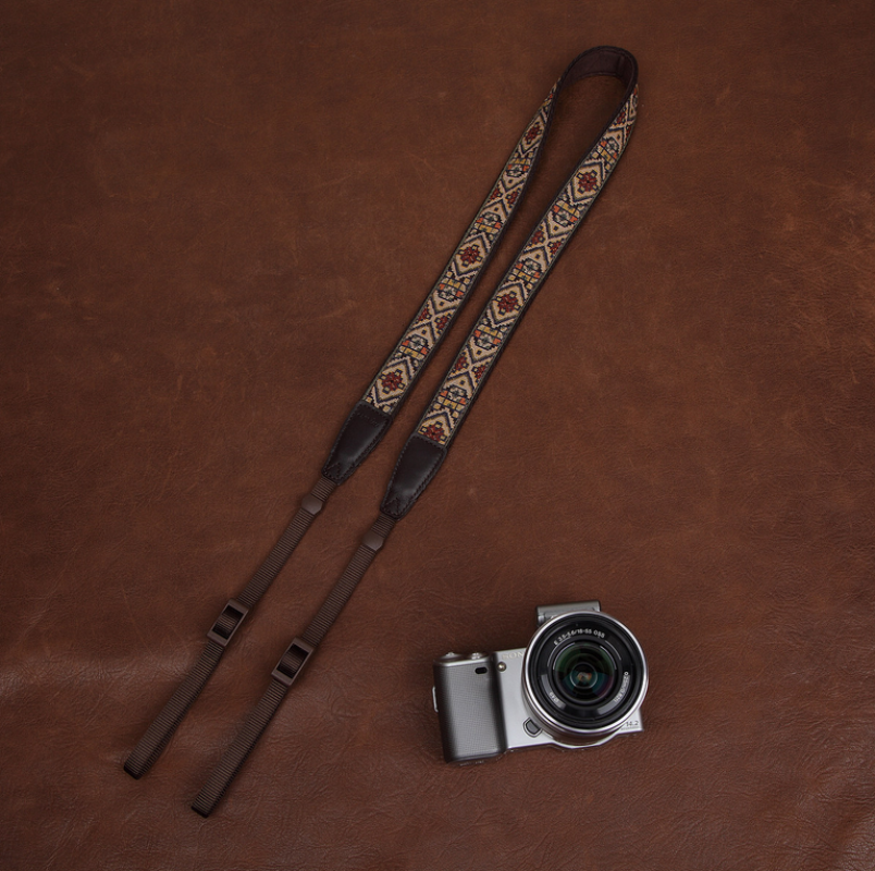 Embroidery Series Brown Handmade DSLR Leather Camera Strap 7456 - icambag