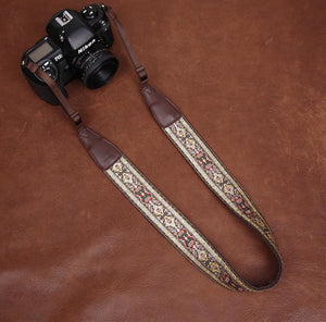Embroidery Series brown Handmade DSLR Leather Camera Strap 7440 - icambag