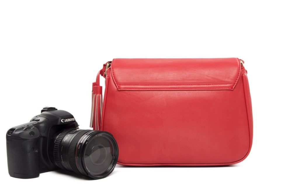 Fashion Red Leather DSLR Camera Bag PU Leather Camera SLR Camera Bag Shoulder Bag 117 - icambag