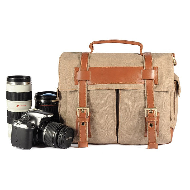Fashion Vintage Canvas Leather Camera Bag Messenger DSLR Camera Bag 911 Brown - icambag