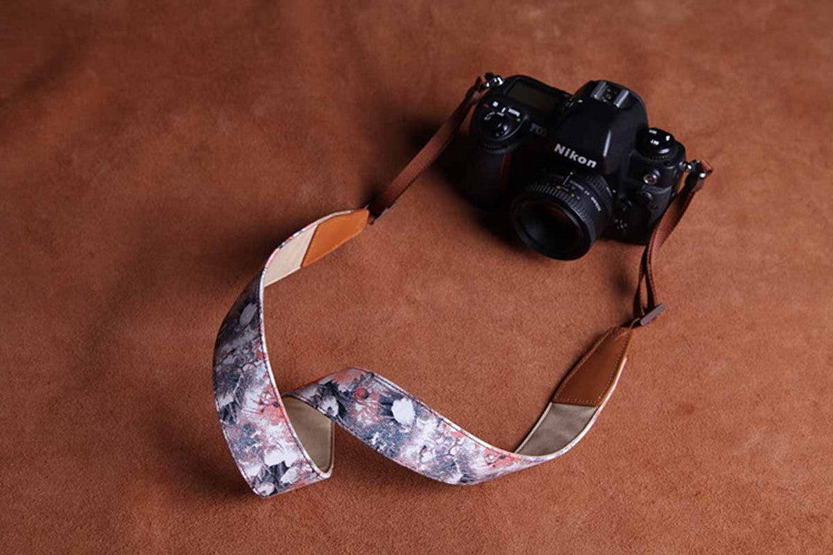 Cotton Cowboy Flower Handmade Leather Camera Strap - icambag