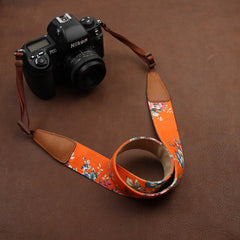 Green Cowboy Flower  Handmade Leather Camera Strap Brown - icambag