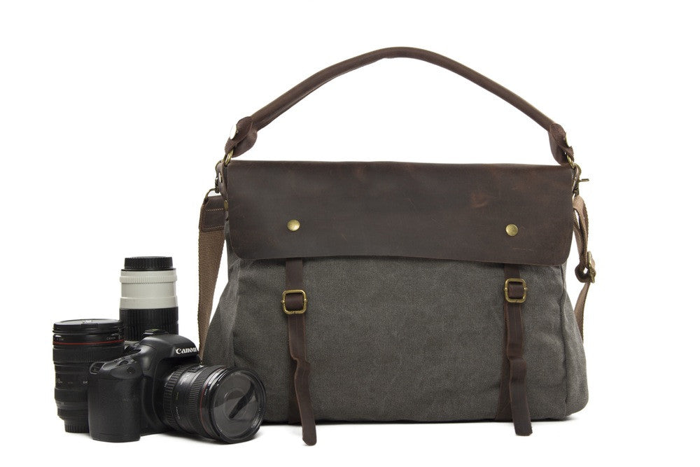 Gray Professional Camera Bag Leisure SLR Camera Bag Leather Canvas DSLR Camera Bag 33683 - icambag
