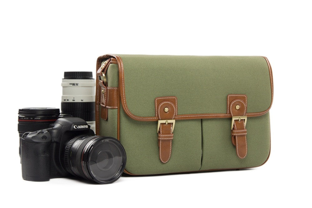 Green Canvas Leather DSLR Camera Bags  Camera Bag 1356 - icambag