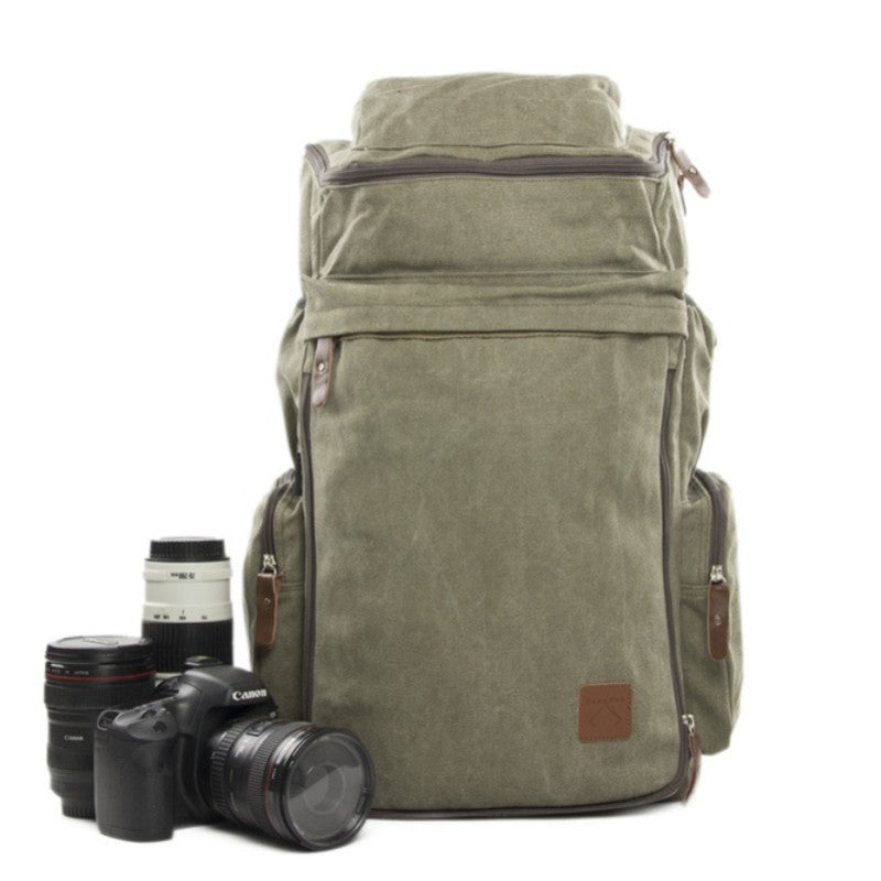 Green Maxi Camera Backpack DSLR Canvas Bag Professional Camera Backpack DN26S - icambag
