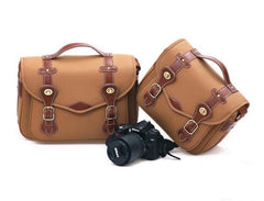 Handcrafted Leather DSLR Camera Bag Canvas Bag Professional Camera Bag -1302 Yellow - icambag