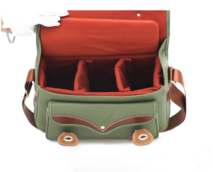 Handcrafted Leather DSLR Camera Canvas Bag Professional Camera Bag 1302 Green - icambag