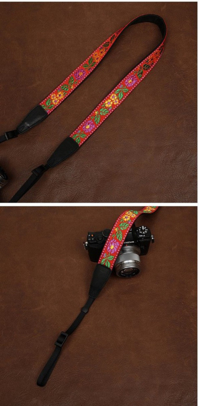 Handmade Leather Camera Strap in Brown-7522 - icambag