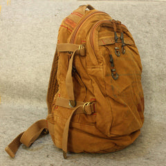 Handmade Retro Backpack, Outdoor Leather Canvas Backpack, 15'Laptop Backpack 00165 - icambag