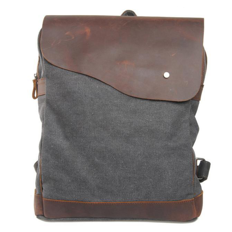 IPAD Laptop Backpack Bag- Leisure Leather Canvas Backpack Leather Shoulder Bag 12032 - icambag