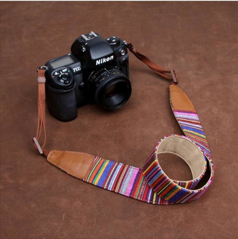 Indian Pinstripe Strap Handmade Leather Camera Strap Style Holiday-7205 - icambag