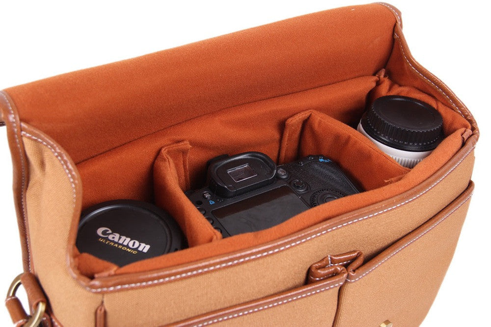 Khaki Canvas Leather DSLR Camera Bags - icambag