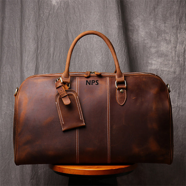 Personalized Duffle Bag Simple Vintage Leather Duffle Bag Good Big Size Travel Bag Gym bag