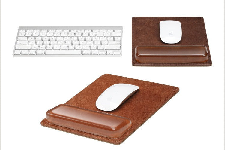 Leather Handcraft Mouse Pad Mousepad Mat - Protect the Wrist Comfortable Office Mouse Pad - icambag