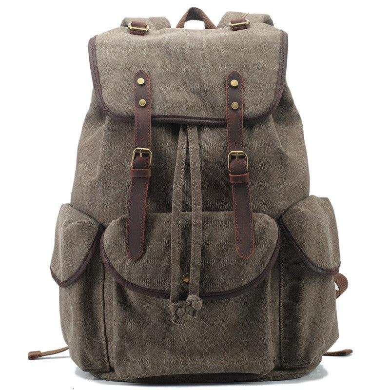 d977658e6b Leisure men s and women s Leather Canvas Backpack Leather Shoulder Bag IPAD  Bag Laptop Backpack 1808 -