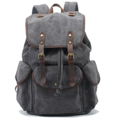 Leisure men's and women's Leather Canvas Backpack Leather Shoulder Bag IPAD Bag Laptop Backpack 1808 - icambag