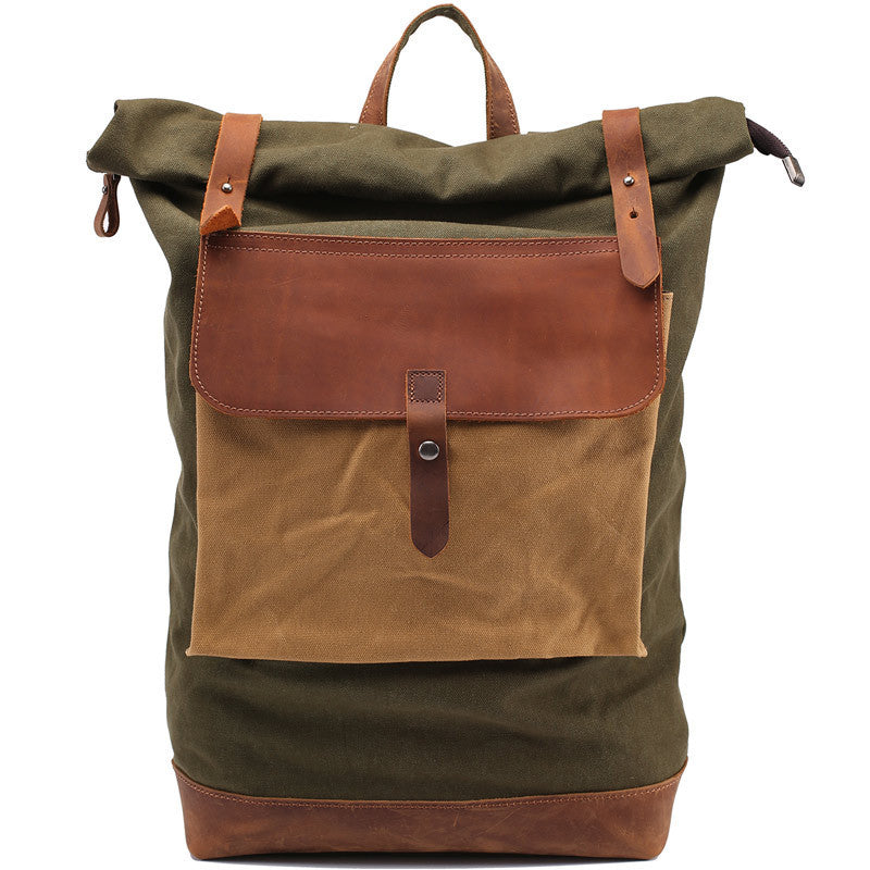 Leisure men s and women s Leather Canvas Backpack Leather Shoulder Bag IPAD  Bag Laptop Backpack 1809 - 951085bb76179
