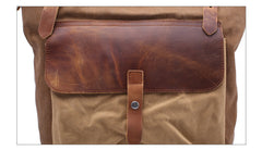Leisure men's and women's Leather Canvas Backpack Leather Shoulder Bag IPAD Bag Laptop Backpack 1809 - icambag