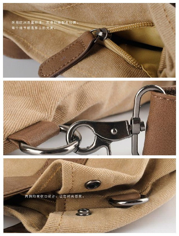 Leisure single shoulder bag Leather Canvas Messenger Bag Washed Canvas Bag Laptop Bag 1123 - icambag