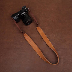 Light Brown Handmade DSLR Leather Camera Strap - 2298 - icambag