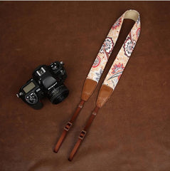 Light Cowboy Flower  Handmade Leather Camera Strap in Brown 7144-7145 - icambag