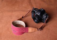 Cowboy Little White Dot Strap Handmade Leather DSLR Camera Strap in Brown CS081 - icambag
