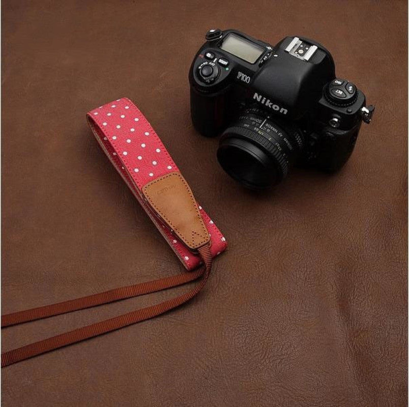 Lovely White Dot DSLR Camera Birthday Present Cotton Handmade Camera Strap 7114 - icambag