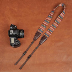 Canon Stripe Handmade Leather Camera Strap - 8270 - icambag