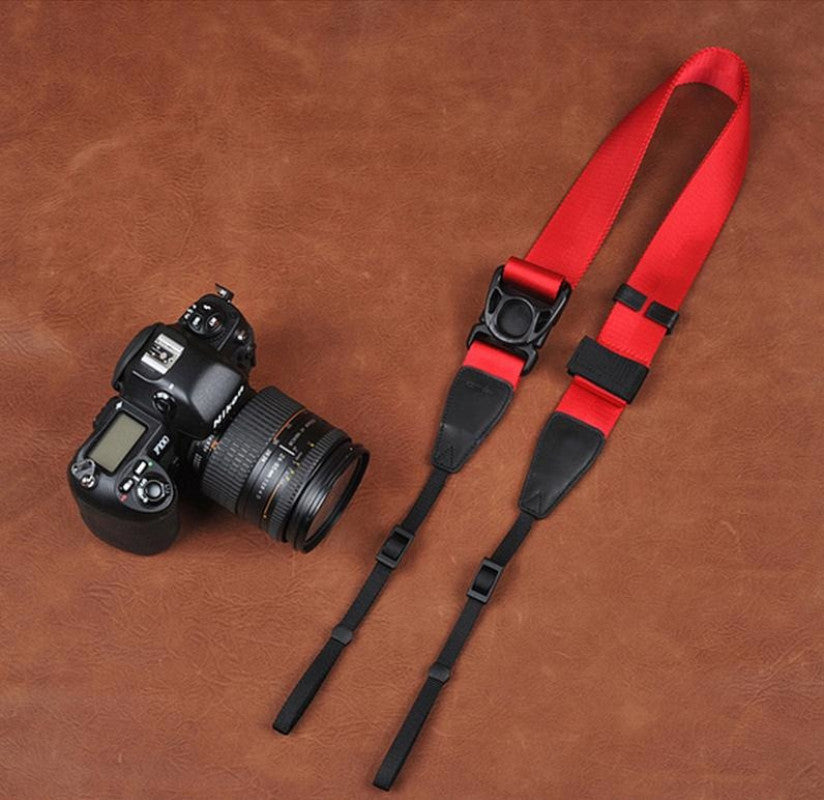 Ninja Style Red Handmade Leather Camera Strap 8813 - icambag
