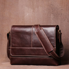 Men's Retro Casual Handmade Leather Single Shoulder Bag Head Layer Cowhide Cross Body Bag Postman Bag
