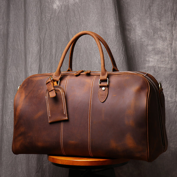 Personalized Duffle Bag Simple Vintage Leather Duffle Bag Good Big Size Travel Bag - icambag