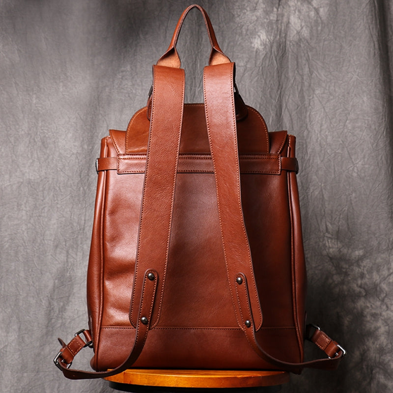 Backpack Casual Backpack Large Capacity Computer Bag Vintage Leather Travel Bag