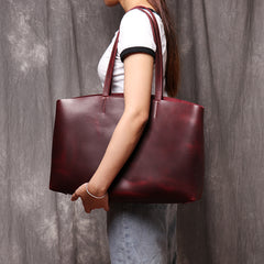 Genuine Leather Tote Bag Leather Handbag Gift for Women Leather Purse Leather Book Bag