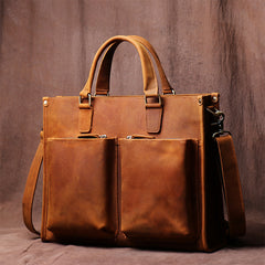 Vintage Men's Handbag Briefcase Leather Bag Computer Bag Cross Body Bag Handmade Crazy Horse Skin Shoulder bag