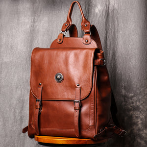 Backpack Casual Backpack Large Capacity Computer Bag Vintage Leather Travel Bag - icambag