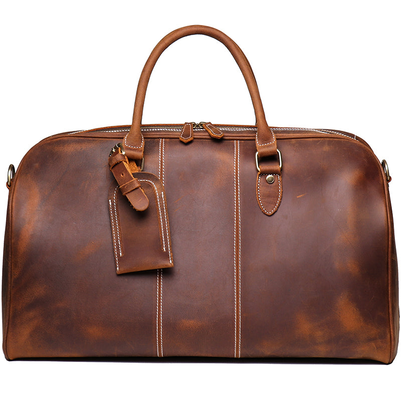 Personalized Duffle Bag Simple Vintage Leather Duffle Bag Good Big Size Travel Bag Gym bag - icambag