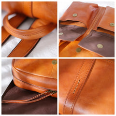 Women's Vintage Travel Backpack Leather Handmade Leather Bag Shoulder Bag School Backpack - icambag