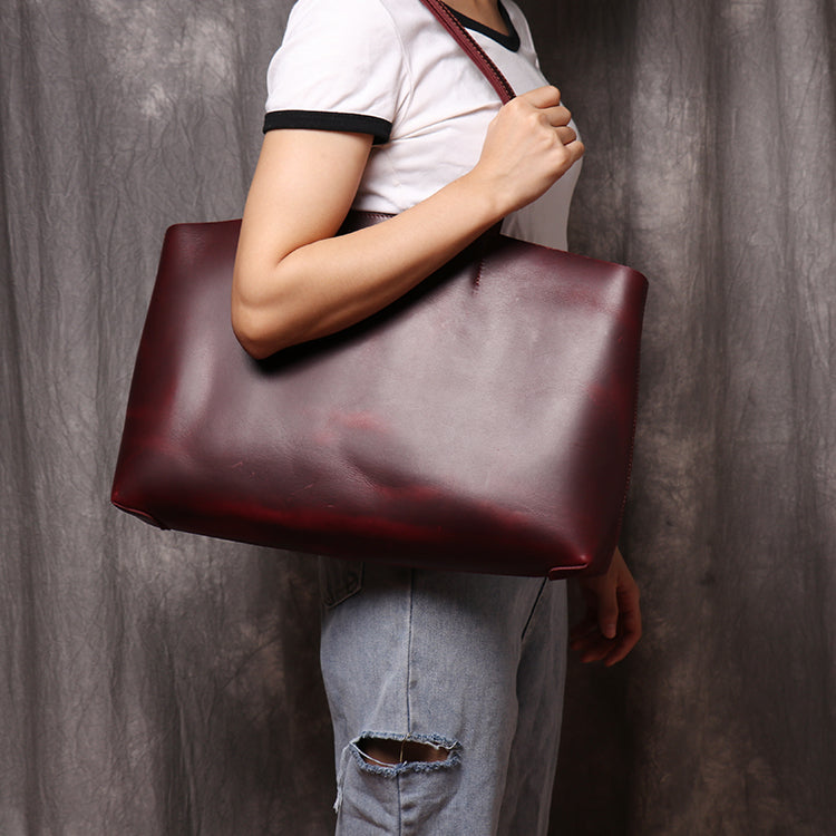Genuine Leather Tote Bag Leather Handbag Gift for Women Leather Purse Leather Book Bag - icambag