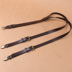Personalized Groomsman Gifts Handmade Wedding Suspender Leather Brown Suspenders Groom - icambag