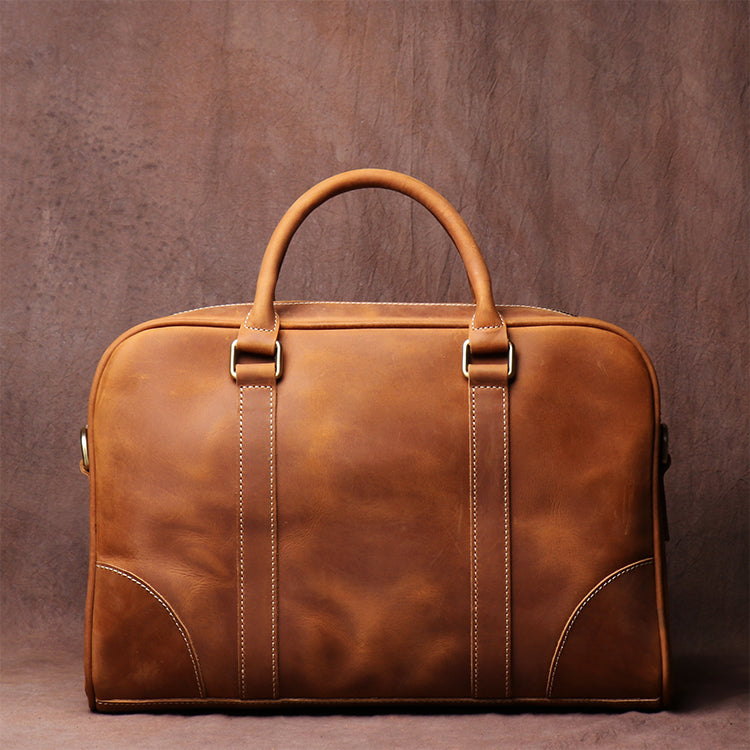 Personal Birthday Gifts, Leather Briefcase Business Bag Laptop Bag Handbags For Men - icambag